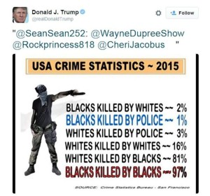 "Just one of Trump's ""re-tweets"" of a completely disavowed list of ""statistics"" widely cited by white supremacist groups"